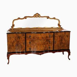 Credenza veneziana in noce con specchio in foglia d'oro, anni '20