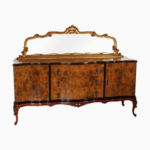 Venetian Walnut Credenza with Gold Leaf Mirror, 1920s