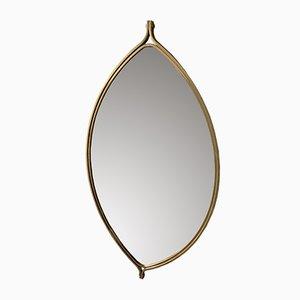 Espejo italiano moderno de metal dorado, años 70