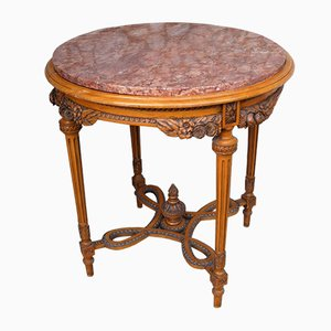 Antique Belgian Round Marble Top Side Table