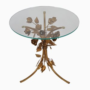 Gilt Metal Leaf and Flower Side Table by Hans Kögl, 1970s