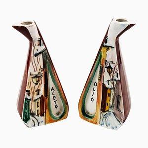 Contenitori per olio e aceto in ceramica, anni '50, set di 2