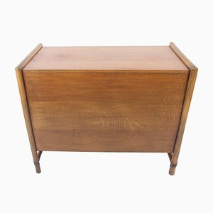 French Oak & Faux Bamboo Cabinet, 1950s