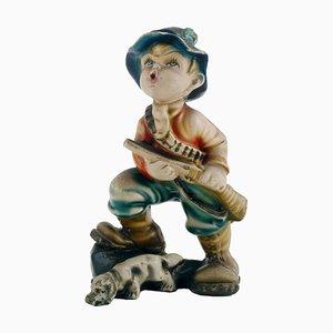 Italian Art Deco Polychrome & Plaster Figurine, 1931