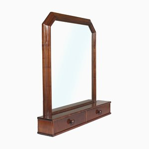Italian Art Deco Walnut Dressing Table Mirror, 1940s