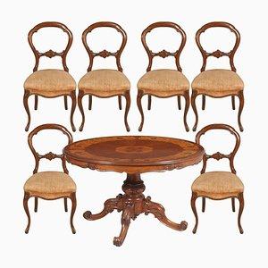 Tavolo da pranzo in noce e sedie, set di 7