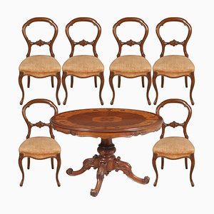 Walnut Dining Table & Chairs Set, 1940s, Set of 7