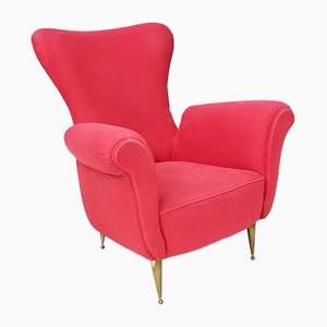 Italian Fabric & Brass Armchair, 1950s