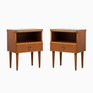 Swedish Alder Wood & Glass Nightstands, 1950s, Set of 2