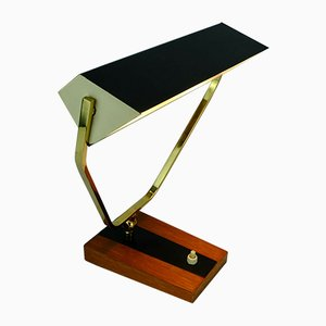 Metal, Brass & Teak Desk Lamp from Kaiser Leuchten, 1960s