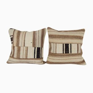 Turkish Stripe Patchwork Kilim Pillow Covers by Vintage Pillow Store Contemporary, Set of 2