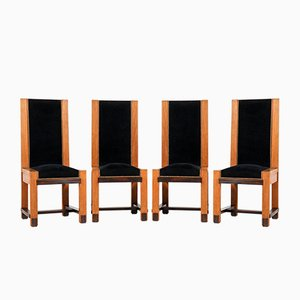 Art Deco Oak High Back School Chairs by H. Wouda for H. Pander & Zn., 1920s, Set of 4