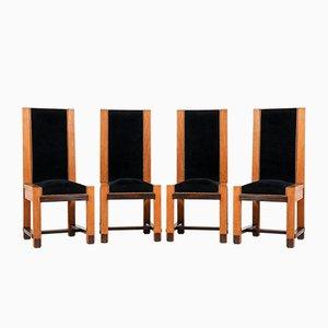Sedie Art Déco in quercia di H. Wouda per H. Pander & Zn., Anni '20, set di 4