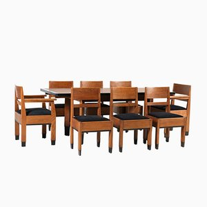 Art Deco Oak School Dining Room Set by H. Fels for L.O.V. Oosterbeek, 1920s, Set of 9