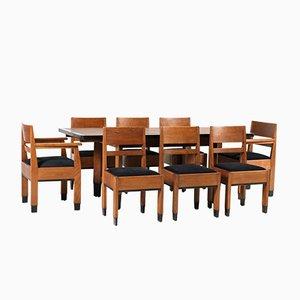 Set da pranzo Art Deco in quercia di H. Fels per LOV Oosterbeek, anni '20, set di 9