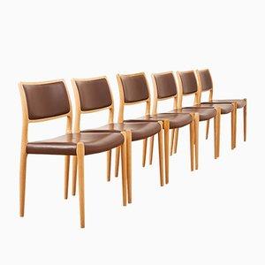 80 Esszimmerstühle von Nils Jonsson für JL Møllers Møbelfabrik, 1960er, 6er Set