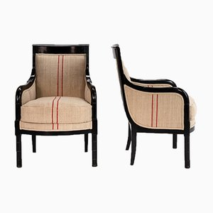 Antique French Ebonized Armchairs, Set of 2