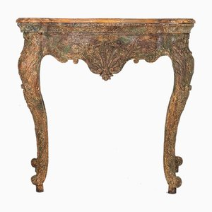 Antiker spanischer Konsolentisch aus geschnitztem Pinienholz