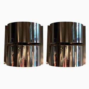 Chrome-Plated Metal Sconces from Minilumi Design, 1970s, Set of 2