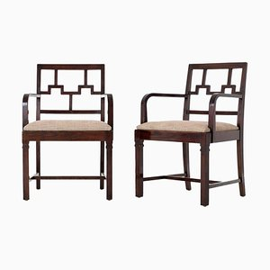 Vintage Swedish Stained Oak Armchairs, Set of 2