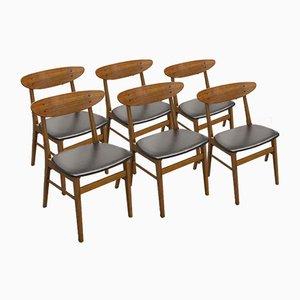 Teak & Buche Esszimmerstühle von Farstrup Møbler, 1960er, 6er Set