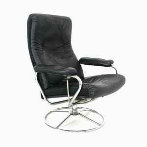 Leather Swivel Chair from Ekornes, 1970s