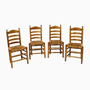 Rustic Side Chairs, 1940s, Set of 4