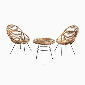 Italian Rattan Garden Chairs & Table, 1950s, Set of 3