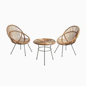Mesa y sillas de jardín italianas de ratán, años 50. Juego de 3