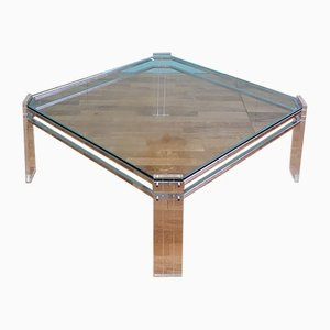 Vintage French Lucite and Glass Coffee Table, 1970s