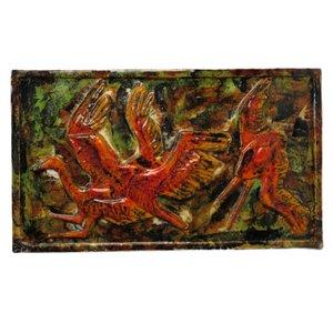 Große Deutsche Keramik Wandfliese Kraniche von Rusche, 1950er