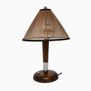 Art Deco Beech Table Lamp, 1930s