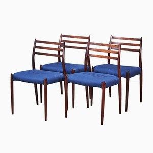 Sedie da pranzo nr. 78 Mid-Century in palissandro di Niels Otto Møller, anni '60, set di 4