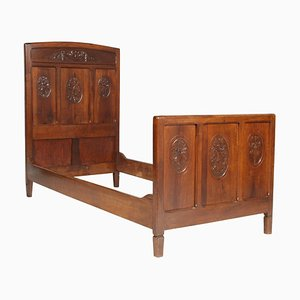 Antique Italian Art Nouveau Carved Walnut Twin Beds, Set of 2