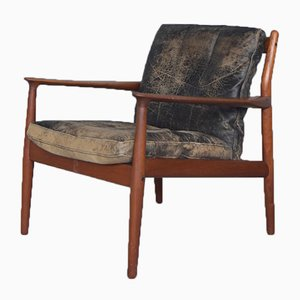 Leather and Teak Model 218 Armchair by Grete Jalk for Glostrup, 1950s