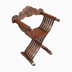 Carved Walnut Desk Chair by Michele Bonciani, 1930s
