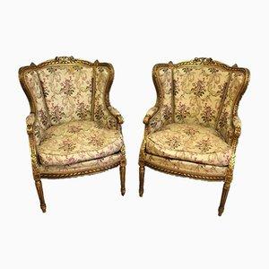 Antike Gold & Holz Sessel, 2er Set