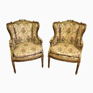 Antique Gold & Wood Lounge Chairs, Set of 2