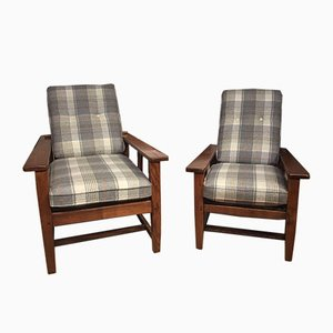 Antique Arts & Crafts Oak Armchairs, Set of 2