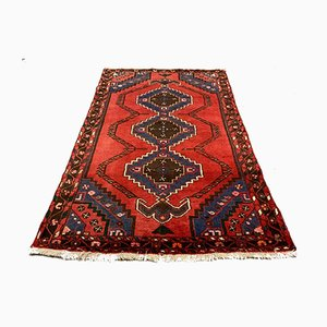 Vintage Middle Eastern Red and Navy Woolen Tribal Rug