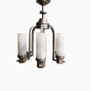 Lámpara de araña Art Déco de vidrio esmerilado, años 30