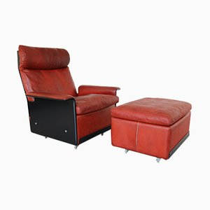 Mid-Century Leather 620 Highback Lounge Chair by Dieter Rams for Vitsœ