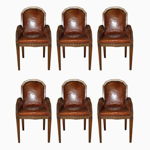 Art Deco Walnut & Leather Lounge Chairs, 1930s, Set of 6