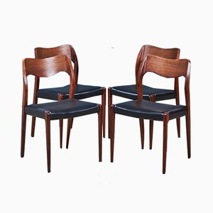 Sedie da pranzo Mid-Century in palissandro di Niels Otto Møller per J.L. Møllers, anni '50, set di 4