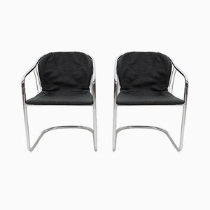 Italian Chrome Armchairs, 1974, Set of 2
