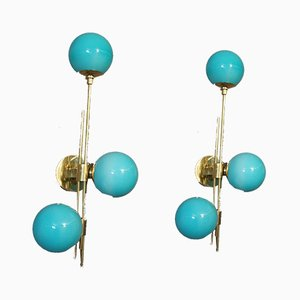 Mid-Century Italian Modern Brass & Glass Sconces, Set of 2