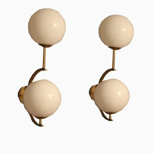 Vintage Italian Modern Brass & Murano Glass Sconces, Set of 2