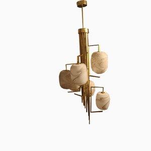 Lámpara de araña vintage de cristal de Murano y latón