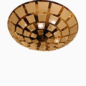 Lampe à Suspension en Plaqué Or et Verre Murano, 1980s
