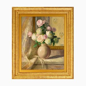 Antique Flower Painting by Gabrielle Millioud Melay